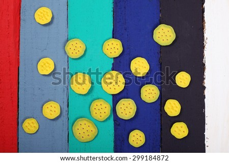 lotus pod on colorful panels as background. - stock photo