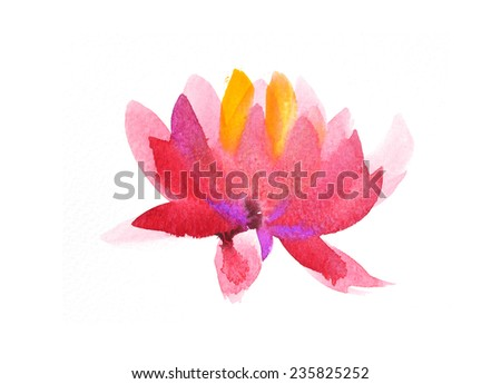 lotus watercolor hand-painted, isolated on white