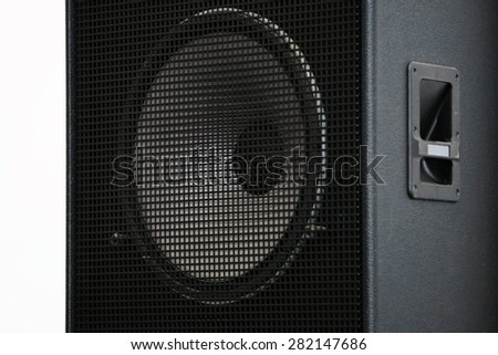 Loudspeaker enclosure. Sound speaker. - stock photo