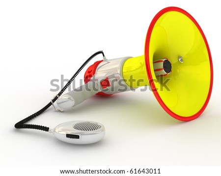 Loudspeaker manual isolated over white background - With Clipping Path