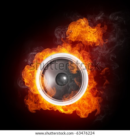 Loudspeaker on Fire Isolated on Black Background. 2D graphics, computer designe - stock photo