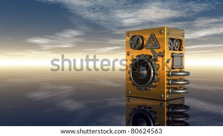loudspeaker under cloudy sky - 3d illustration