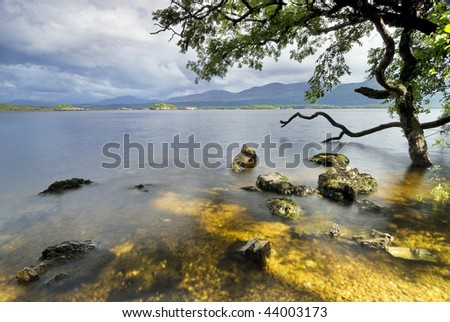 Lough Leane Lake view from Ross Island. Killarney National Park, County Kerry, Ireland - stock photo