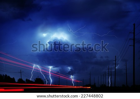 Louisiana thunderstorm - stock photo