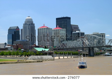 Louisville, Kentucky skyline seen from the Ohio River. - stock photo