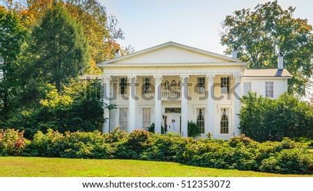 LOUISVILLE, KENTUCKY, USA - OCT. 10, 2016: Built circa 1855, Whitehall is a Southern-style Greek Revival mansion. Whitehall mansion and gardens are open for tours and events.