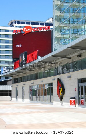 LOUISVILLE, KY - AUGUST 25: The KFC Yum! Center pictured on August 25, 2012 in Louisville, Kentucky. It is home to the University of Louisville's basketball team and it opened its doors in 2010. - stock photo