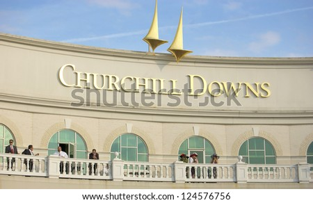 LOUISVILLE, KY - MAY 4: The exterior of Churchill Downs pictured on May 4, 2010 in Louisville, Kentucky. Churchill Downs was ranked 5 of 65 Thoroughbred racetracks in North America in 2009. - stock photo