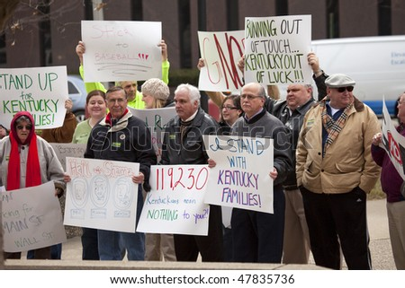 LOUISVILLE - MARCH 2: Unemployed citizens protest against Senator Bunning's blocking of unemployment benefits on March 2, 2010 in Louisville, KY.
