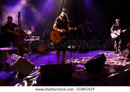 LOULE, PORTUGAL - JUNE 23: Amparo Sanchéz  performs onstage at Festival Med June 23, 2010 in Loule, Portugal. - stock photo