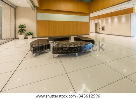 Lounge area. Modern lobby, hallway of the luxury hotel, business center, shopping mall in Vancouver, Canada. Interior design. - stock photo