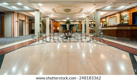 Lounge area of a hotel. Interior design. - stock photo