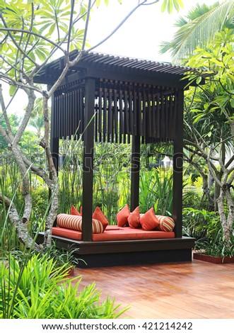 lounge at tropical resort - stock photo