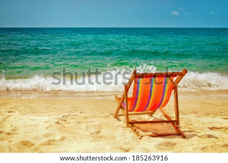 Lounge chair on the beach
