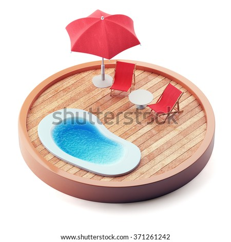 Lounge chairs near the pool on wooden plate isolated on white background. 3d render - stock photo