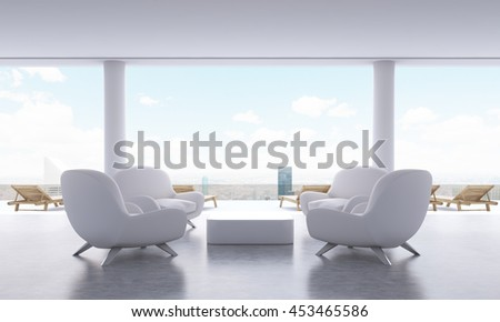 Lounge interior with small coffee table, armchairs and chaise longues on New York city background. 3D Rendering