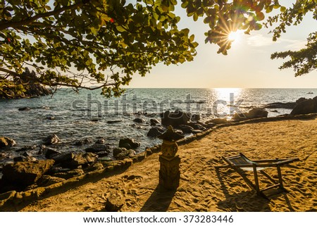 Lounger on the shore of a tropical island. Koh Chang. Thailand. - stock photo