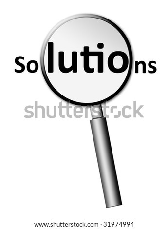 Loupe with solutions text over white background