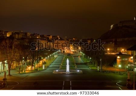 Lourdes, France at night. - stock photo