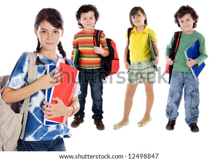 lovables students childrens a over white background - stock photo