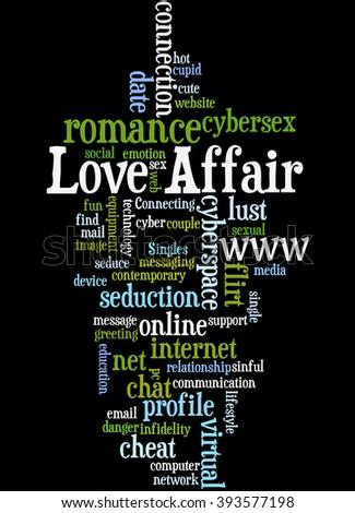 Love Affair Word Cloud Concept On Black Background