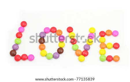 Love alphabet colorful of candy. - stock photo