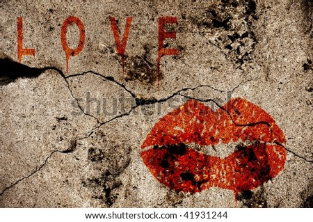 Love and Kiss illustration on a grunge wall - stock photo
