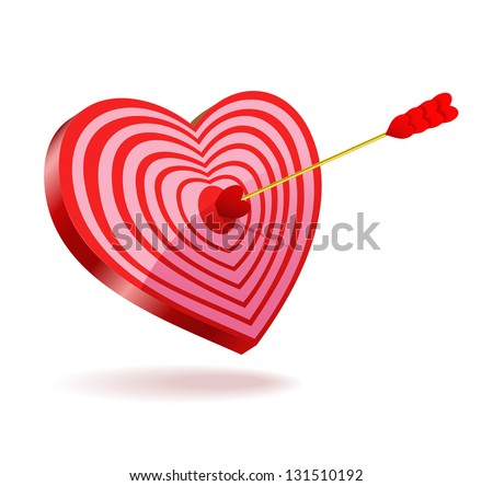 Love arrows shot through the target-heart on the white background (raster version). - stock photo