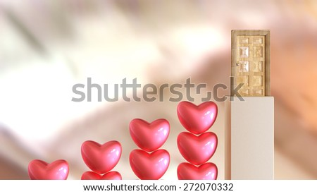 Love as problem solution illustration - hearts as stairs. - stock photo