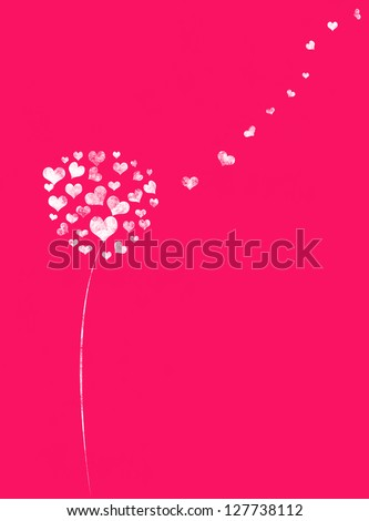 Love background with hearts tree and place for text - stock photo