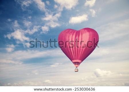 Love balloon. vintage style photo - stock photo
