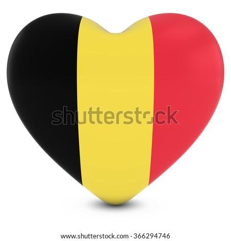 Love Belgium Concept Image - Heart textured with Belgian Flag - stock photo