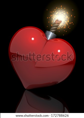 Love bomb, sex bomb, red, shiny heart with lit fuse, 3d rendering on black, reflecting background - stock photo