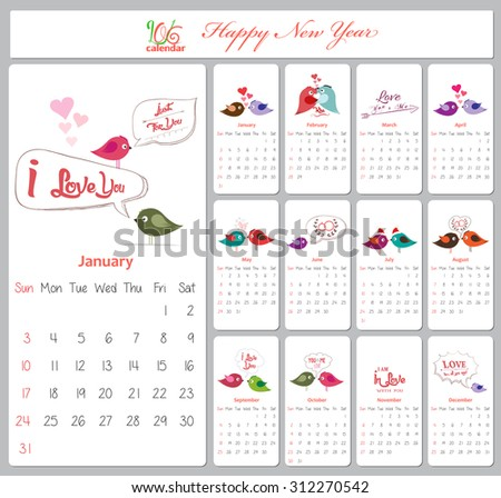 cute retro calendar on 2015 year vector illustration love calendar for ...