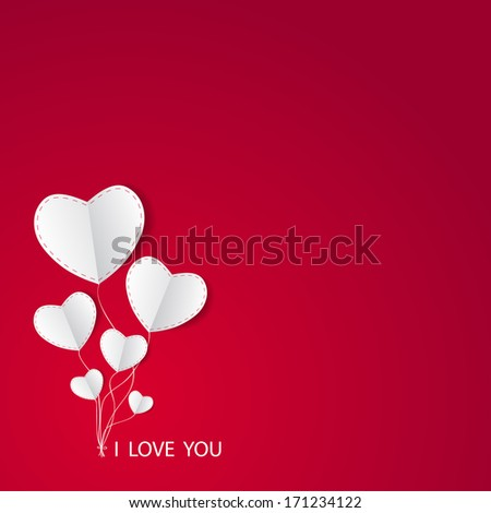 Love card Happy Valentines Day concept. Heart shape with shadow. This is Raster version. - stock photo