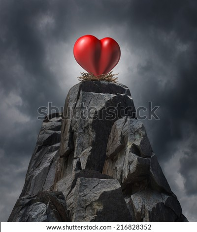 Love challenge problem concept and romantic life trouble or heartache and loneliness as a red heart  sitting high on cliff in a nest as a long distance dating symbol or finding romance. - stock photo
