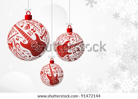 Love Christmas music concept illustration. Music instruments set in red bauble shape background. - stock photo