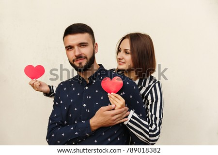 Love Concept. Caucasian Couple In Love. Celebration First Date With Red  Hearts At Valentines