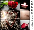 Love concept collage with images of a rose, candle, and a heart. - stock photo