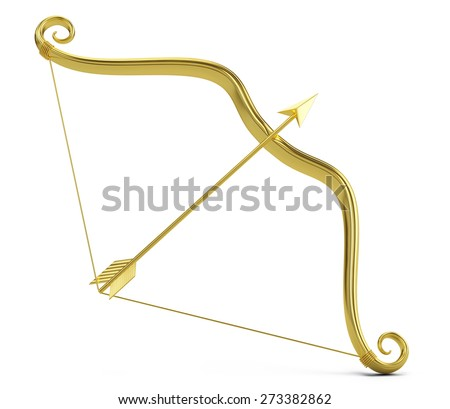 Love concept: Golden Cupid's bow and arrow isolated on white - stock photo