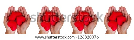 love concept. holding a red hearts in hands. - stock photo