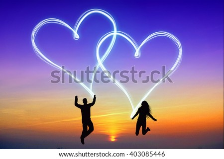 Love concept - jumping, happy couple shapes.