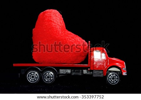 Love Concept of Truck Loading Lovely Heart, A Perfect Gift or Present for Someone Special. - stock photo