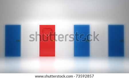 Love concept: Red door with heart shape (shallow DOF) - stock photo