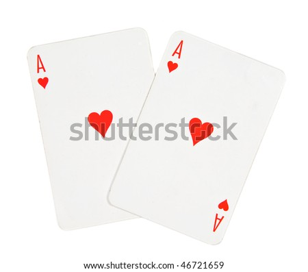 Love concept, two aces of hearts on white - stock photo