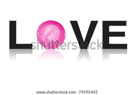love condom on whiet background