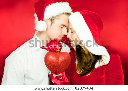 love couple christmas - stock photo