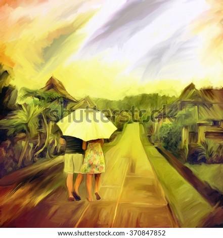 love couple walk in rainy day, watercolor art digital painting - stock photo