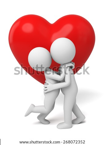 love/3d people kiss. 3d image. Isolated white background - stock photo