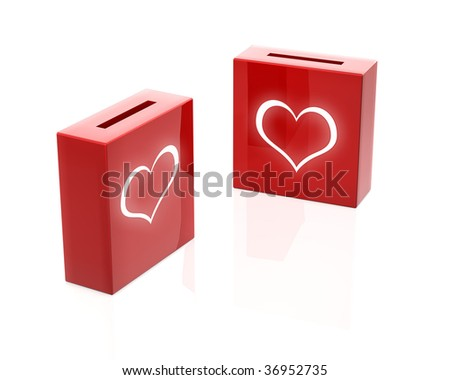 love donation boxes - stock photo